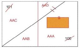 tipo mappale per fusione di particelle con inserimento nuova costruzione e stralcio di corte